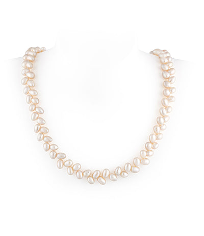 Leaf Classic White Pearl Necklace