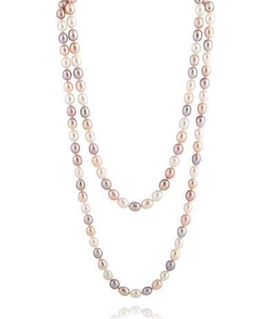 Long Multi-coloured Pearl Rope Necklace