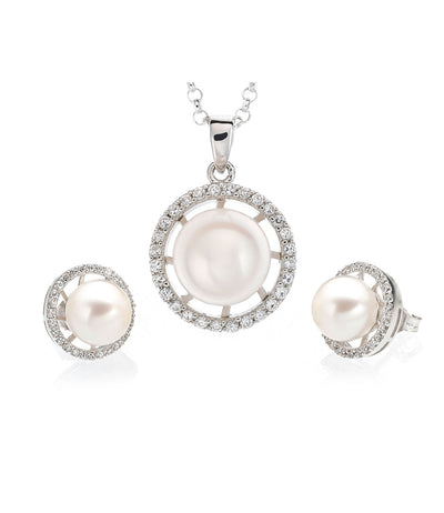 Luna Freshwater Pearl Necklace and Earrings Set Sterling Silver