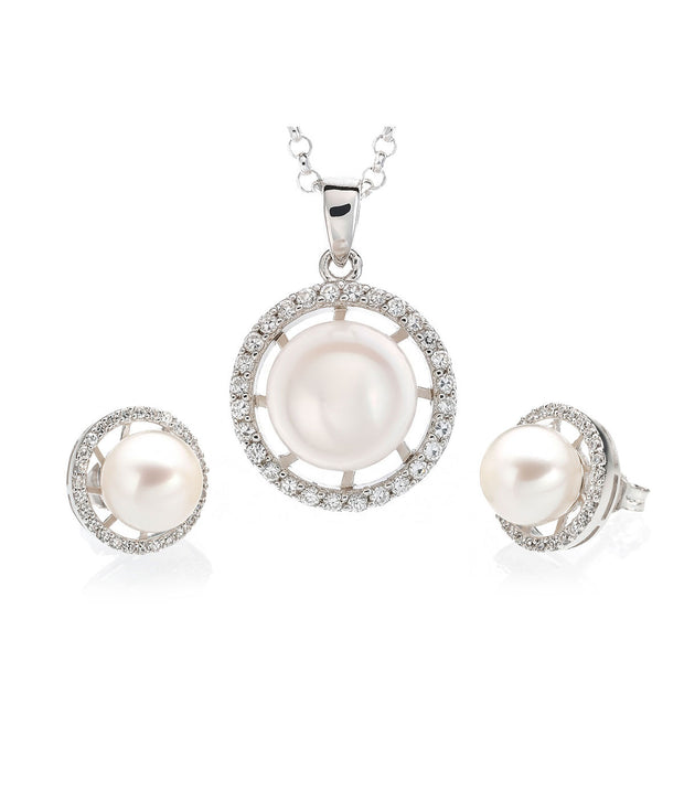 Luna Freshwater Pearl Necklace and Earrings Set