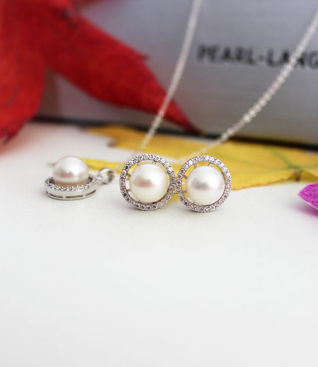 Luna Pearl Pendant Necklace and Earrings Set