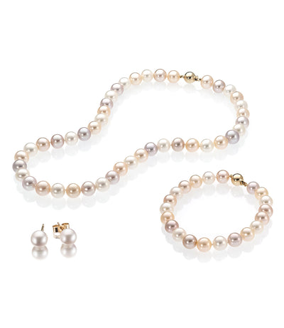 Luxury 18k Yellow Gold Freshwater Pearl Jewellery Set