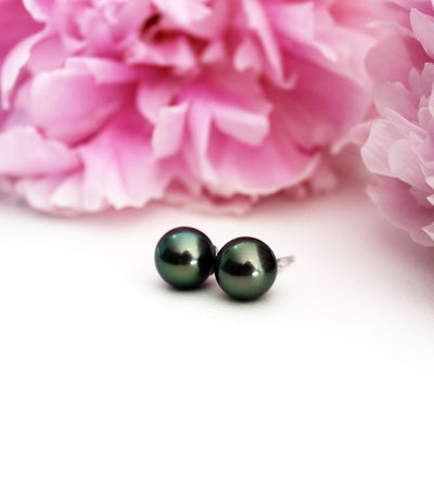 Luxury Black Pearl Earrings 18k White Gold Tahitian Peacock