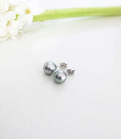 18k white gold black pearl earrings natural silver grey