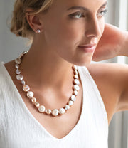 Pink Pearl Necklace Modern Baroque Freshwater Coin Shape Sterling Silver