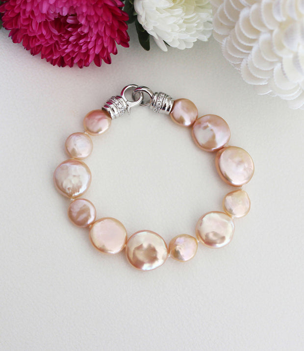 Pearl Bracelet with Rhodium Plated Sterling Silver Freshwater Peach Baroque Pearls