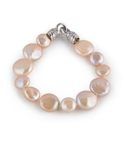 Freshwater Peach Coin Pearl Bracelet