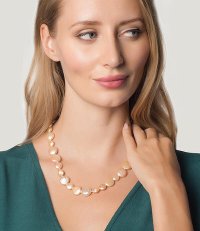 Freshwater Pearl Necklace Peach Coin Baroque