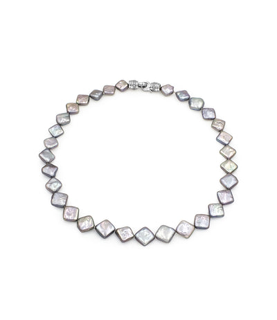 Statement Necklace Edgy Grey Square Baroque Pearls Metallic Shine Sterling Silver Sparkling Cubic Zirconia