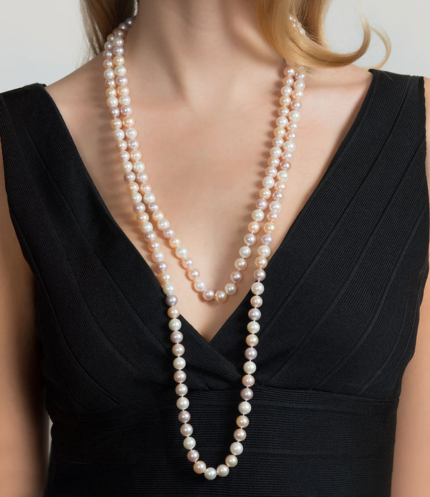 Muse Multi-Coloured Long Freshwater Rope Pearl Necklace