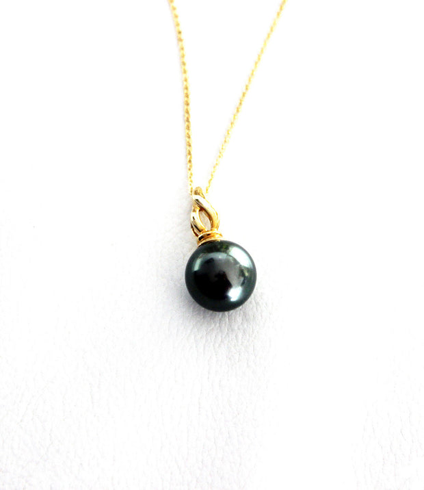 Dark Green Tahitian Pearl Pendant Necklace 18ct Gold
