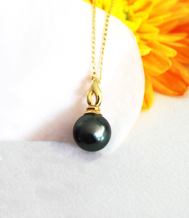 Tahitian Black Pearl Pendant Necklace Dark Green