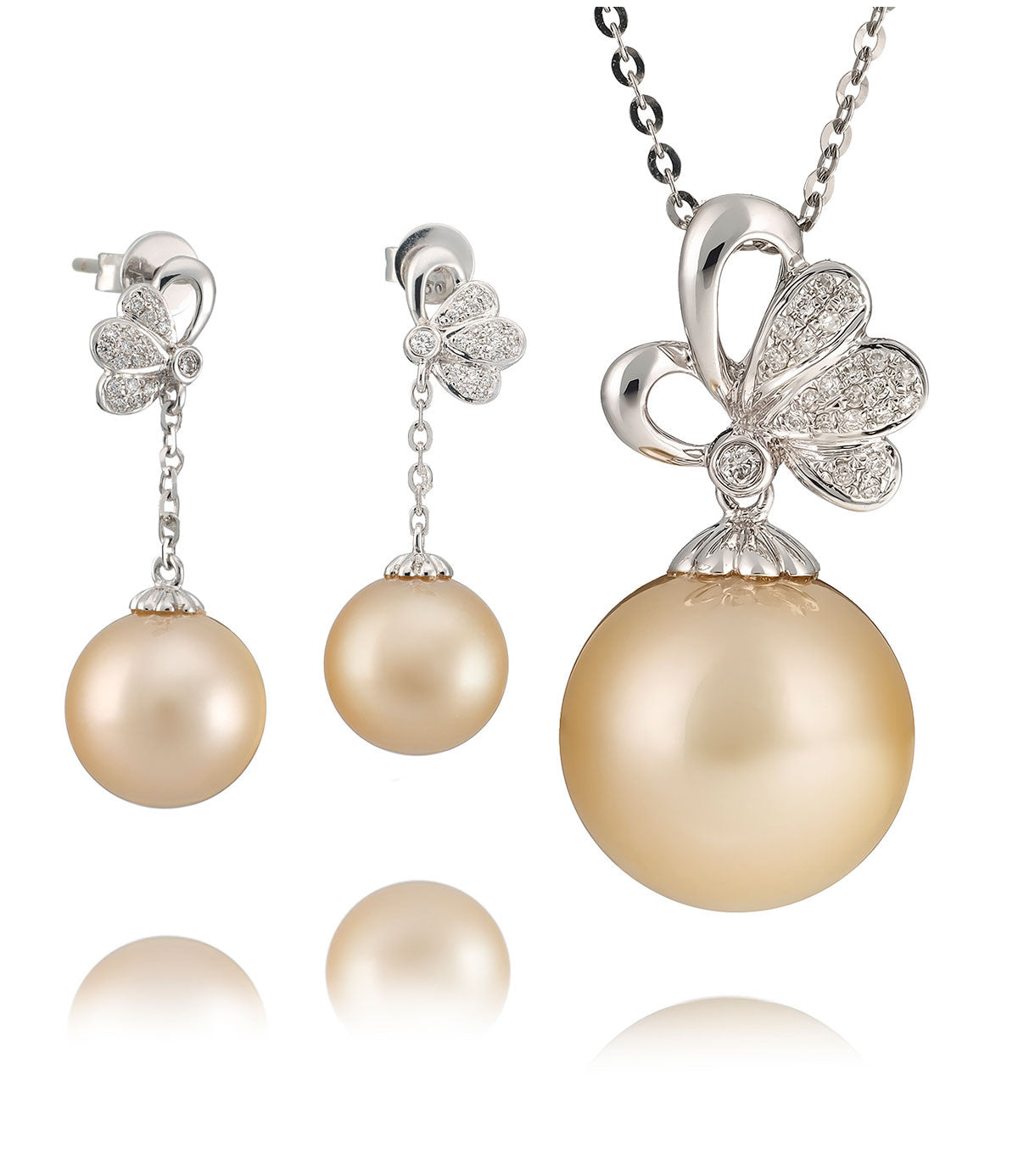Pearl Jewellery Necklace >> Luxury Golden South Sea Pearl Necklace Set - PEARL-LANG®