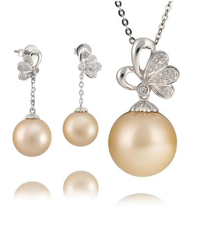 Odyssey Golden South Sea Pearl & Diamond Necklace Set