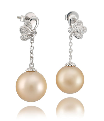 Odyssey South Sea Pearl Earrings with Diamonds in 18k White Gold