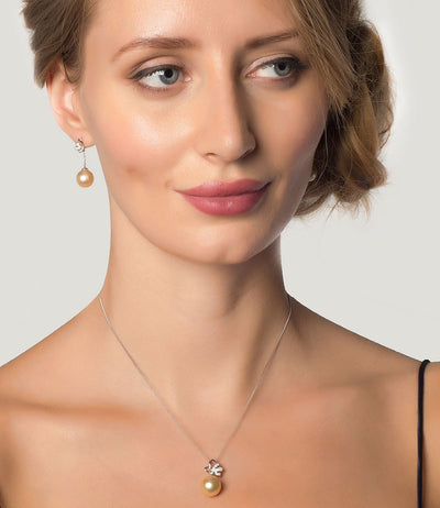 Luxury Golden South Sea Pearl and Diamond Necklace Earrings Set in 18k White Gold