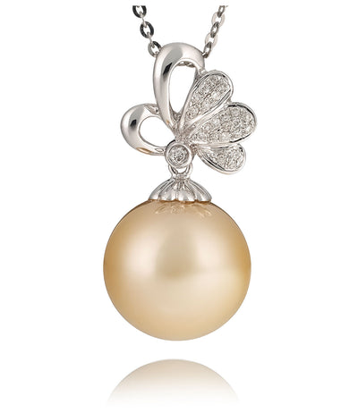 Diamond Pendant Necklace with South Sea Pearl 18k Gold
