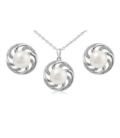 Paradis Pearl Necklace and Earrings Set in Sterling Silver