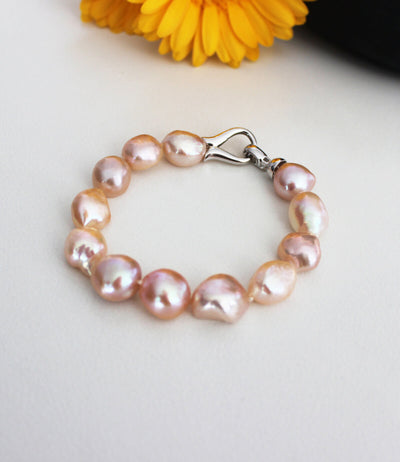 Peach Baroque Pearl Bracelet Rhodium Plated Sterling Silver Clasp