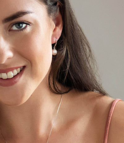 Pearl Drop Earrings Hook Back Bella Sterling Silver with Cubic Zirconia