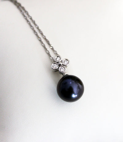 Rare Tahitian Pearl Necklace with Diamonds 18k White Gold