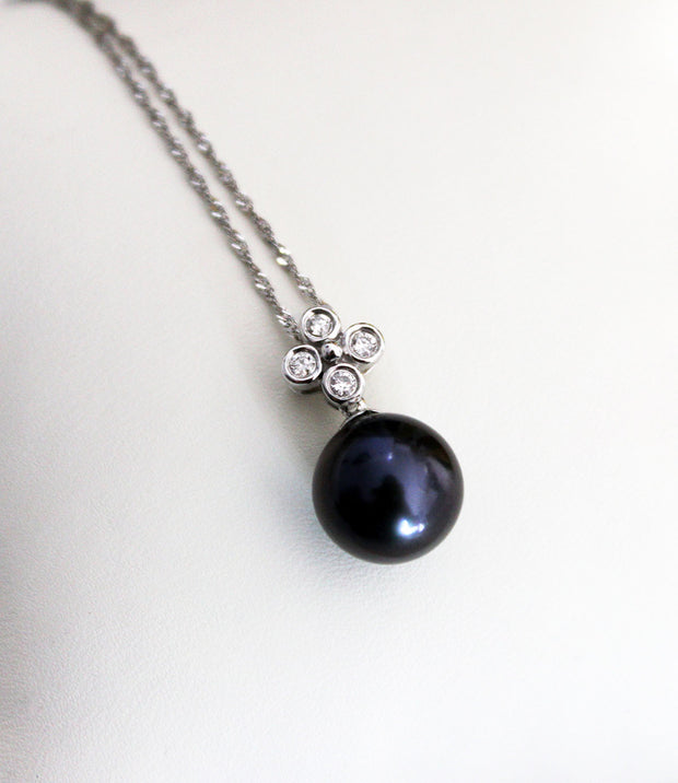 Rare Purple Tahitian Pearl & Diamond Necklace_2
