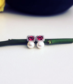 Scarlett Ruby Pearl Stud Earrings_1