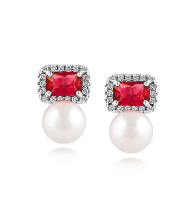 Ruby Earrings with Pearls Rhodium Plated Sterling Silver