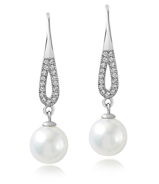 Pearl Drop Earrings in Sterling Silver Cultured White Freshwater