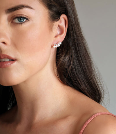 Ear Climber Earrings with Freshwater Pearls Sterling Silver