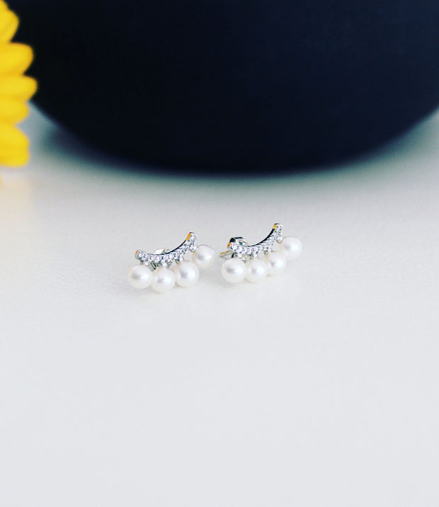 Ear Climbers in Rhodium Plated Sterling Silver with Cubic Zirconia