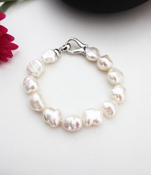 Sterling Silver Bracelet with White Keshi Baroque Pearls