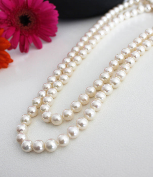 Long Real Pearl Necklace Opera Length Freshwater