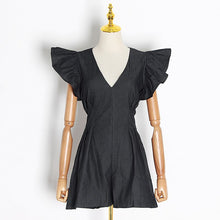 Load image into Gallery viewer, Black Ruffle Sleeve Playsuit