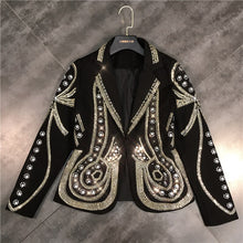 Load image into Gallery viewer, Metal Beaded No Buttons Short Jacket