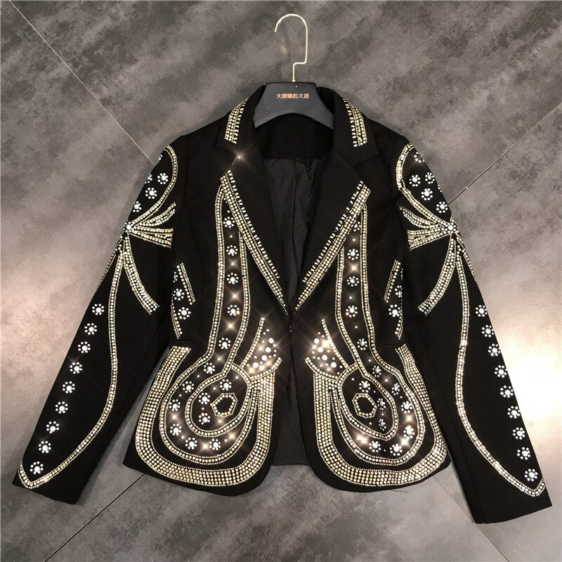 Metal Beaded No Buttons Short Jacket