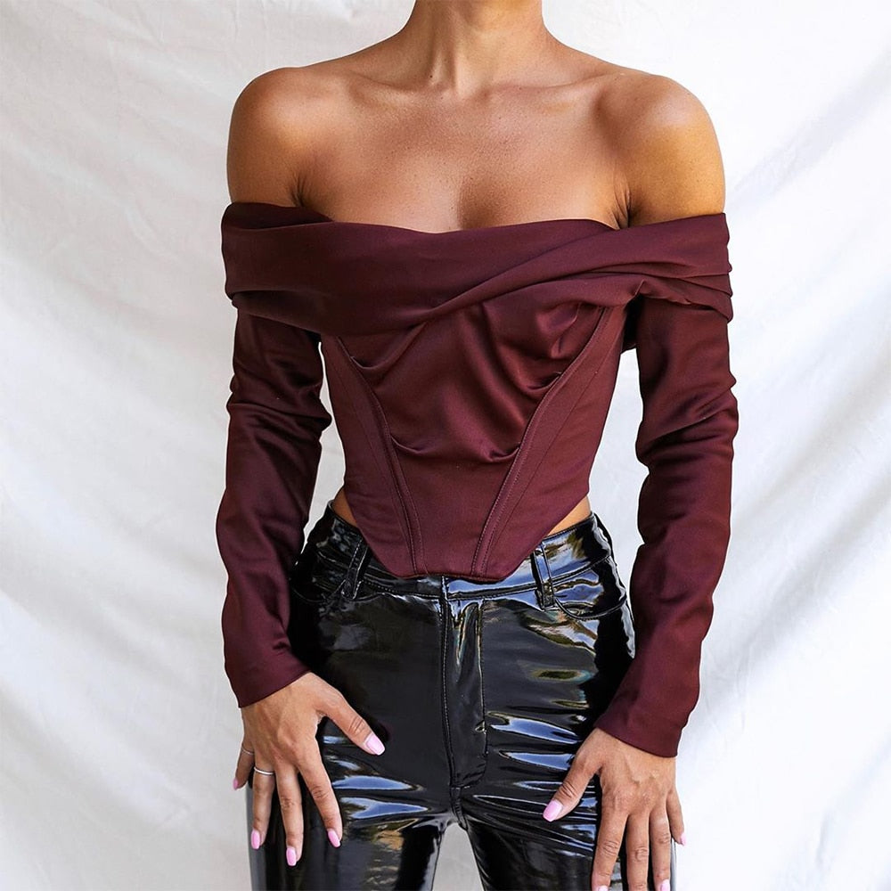 Satin Off Shoulder Draped Corset Crop