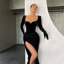 Load image into Gallery viewer, Black Velvet Sexy Split Dress