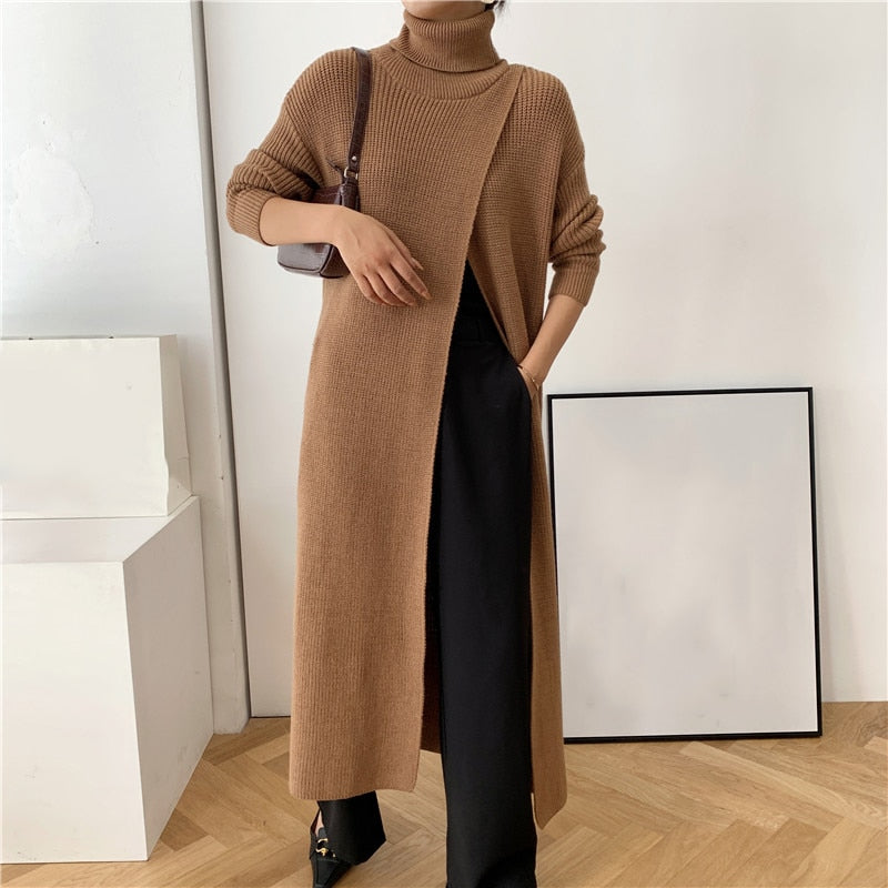 Long Knitting Turtleneck Long Sleeve