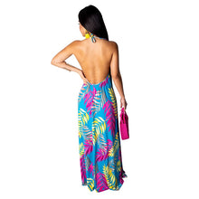 Load image into Gallery viewer, Floral Print Summer Boho Maxi Dress With Headscarf