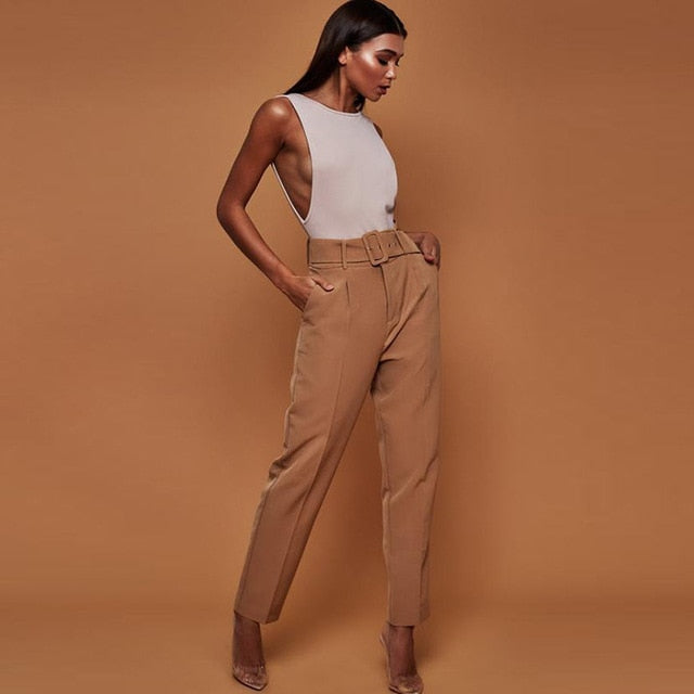 Casual High Waist Autumn Belted Straight Leg trousers
