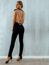 Load image into Gallery viewer, Beaded Backless Sleeveless Chain Jumpsuit