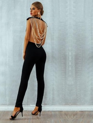 Beaded Backless Sleeveless Chain Jumpsuit