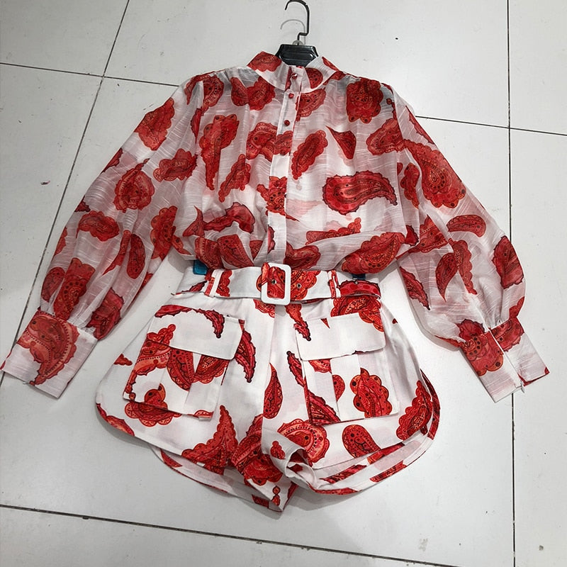Summer Lantern Sleeve Shirt  Shorts Two Piece Set