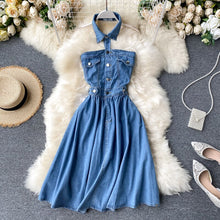Load image into Gallery viewer, Denim Halter Dress