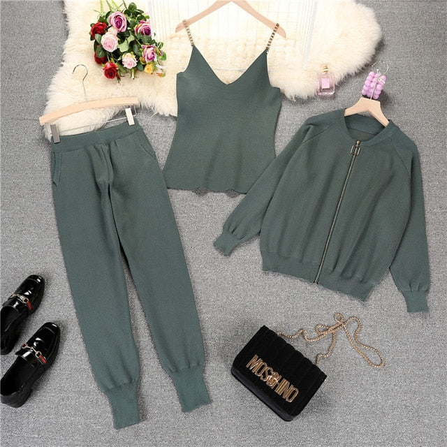 Autumn Knitted Vest Zipper Cardigans Pants