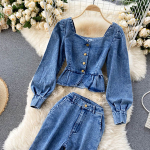 Denim Tops+High Waist Jeans