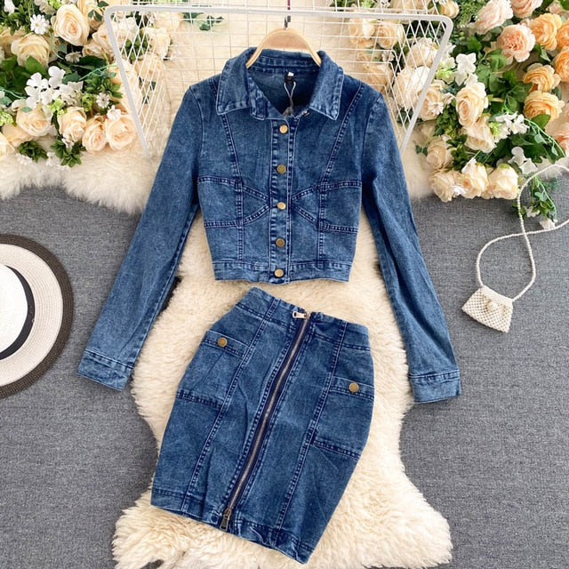Amolapha Women Jeans Jacket Tops Skirts Sets Turn-down Collar Denim Jean Buttons Coats Skirt Suits Outfits