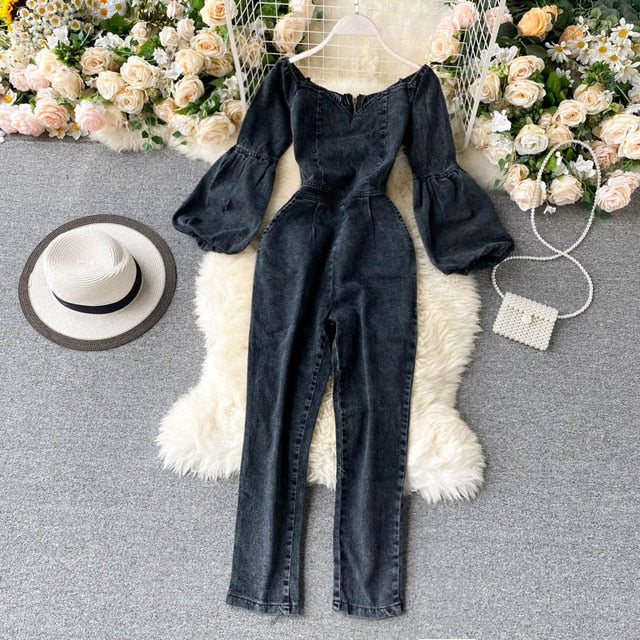 Vintage Off Shoulder Puff Sleeve Denim Jumpsuit