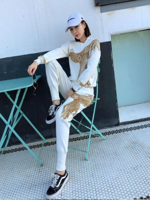 Handmade Beaded Sequinned Tracksuit